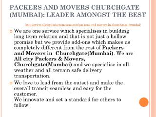 All City Packers and Movers Churchgate (Mumbai): Leader Amongst The Best