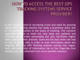 How to Access the Best GPS Tracking Systems Service Provider?