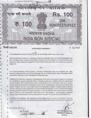 Raheja Developers DDA Contract_Raheja EWS Kathaputli Size Reduced