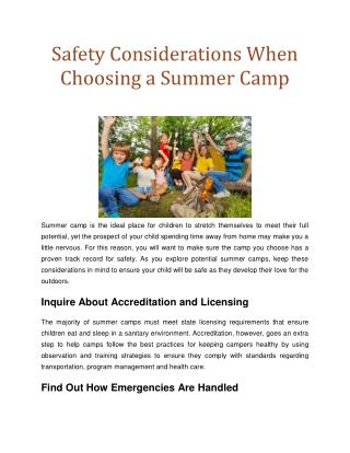 Safety Considerations When Choosing a Summer Camp