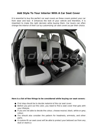 Add Style To Your Interior With A Car Seat Cover