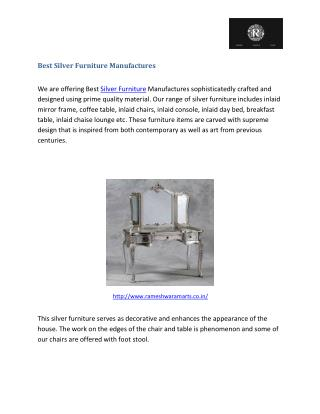 Best Silver Furniture Manufactures