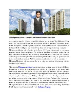 Mahagun Meadows – Modern Residential Project In Noida