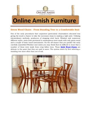 Green Wood Chairs - From Standing Tree to a Comfortable Seat
