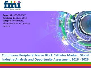 Continuous Peripheral Nerve Block Catheter Market worth US$ 698.9 Mn by 2016-2026
