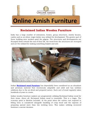Reclaimed Indian Wooden Furniture
