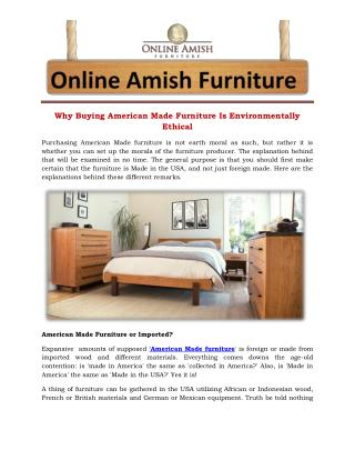 Why Buying American Made Furniture Is Environmentally  Ethical