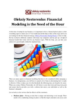 Oleksiy Nesterenko: Financial Modeling is the Need of the Hour