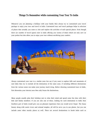 Things To Remember while customizing Your Tour To India