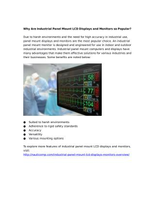 Why Are Industrial Panel Mount LCD Displays and Monitors so Popular?