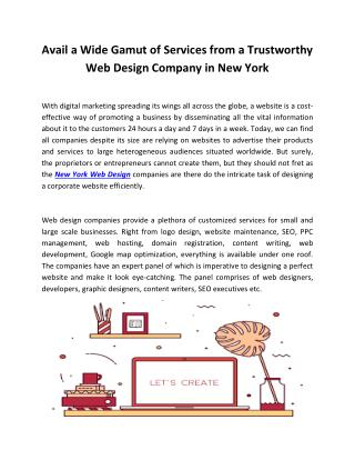 Avail a Wide Gamut of Services from a Trustworthy Web Design Company in New York