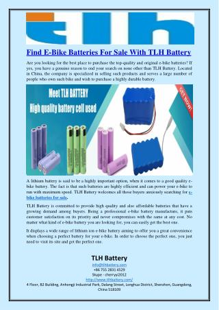 Find E-Bike Batteries For Sale With TLH Battery