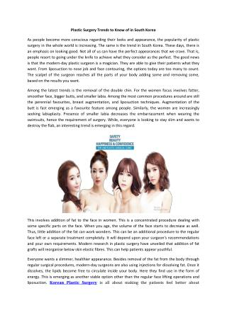Plastic Surgery Trends to Know of in South Korea