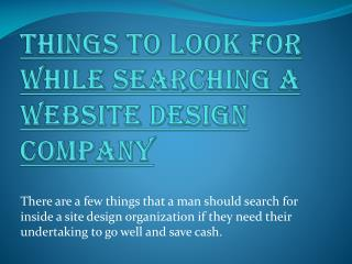 Things to Look For While Searching a Website Design Company