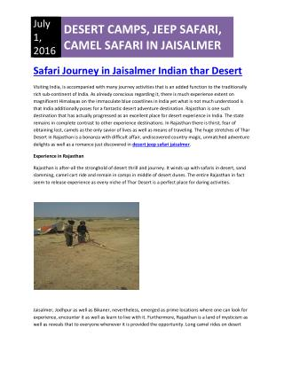Desert Camps in Jaisalmer | Desert Jeep Safari Jaisalmer