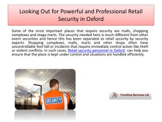 Looking Out For Powerful and Professional Retail Security in Oxford