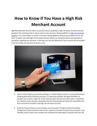 How to Know if You Have a High Risk Merchant Account