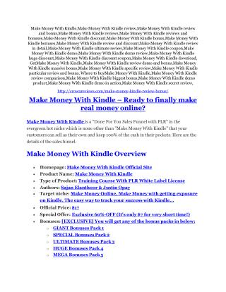 Make Money With Kindle review - Make Money With Kindle  100 bonus items