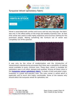 Turquoise Velvet Upholstery Fabric