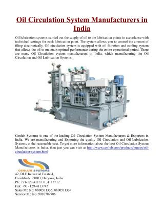 Oil Circulation System Manufacturers in India