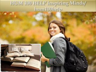 HUM 100 HELP Inspiring Minds/ hum100help