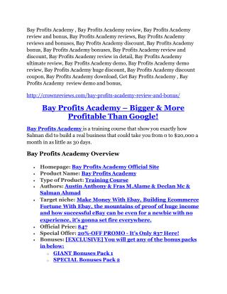 Bay Profits Academy Review-$32,400 bonus & discount