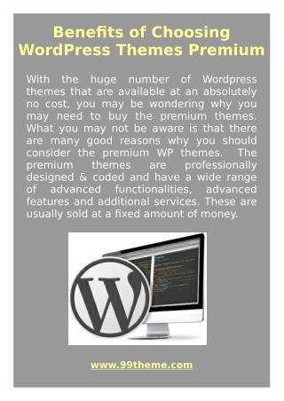 Benefits of Choosing WordPress Themes Premium