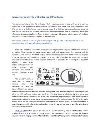 Increase productivity with oil & gas ERP software