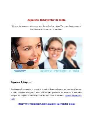 Japanese Interpreter in India