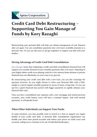 Credit Card Debt Restructuring – Supporting You Gain Manage of Funds by Kory Razaghi