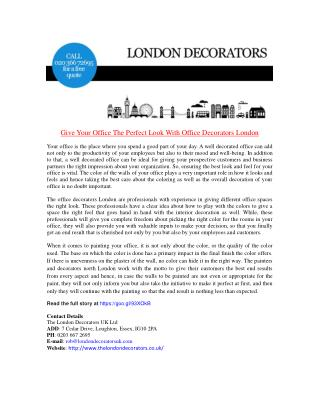 Give Your Office The Perfect Look With Office Decorators London