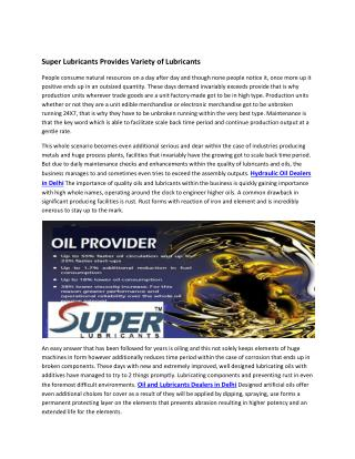 Super Lubricants Provides Variety of Lubricants