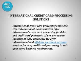 International Merchant Account for Credit Card Processing