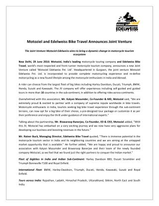 Motoziel and Edelweiss Bike Travel Announces Joint Venture