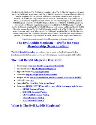 The Evil Reddit Magician review demo & BIG bonuses pack