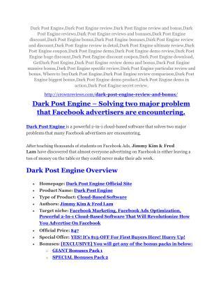Dark Post Engine review & Dark Post Engine $22,600 bonus-discount