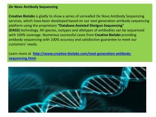 De NovoAntibody Sequencing