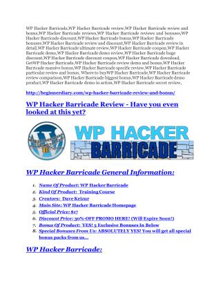 WP Hacker Barricade review - WP Hacker Barricade (MEGA) $23,800 bonuses