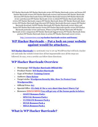 WP Hacker Barricade review and (FREE) $12,700 bonus-- WP Hacker Barricade Discount