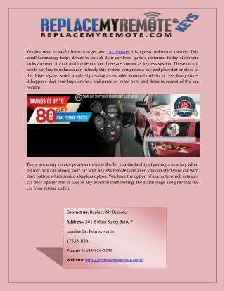 Car Remote Replacement Online