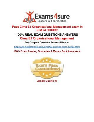 Cima E1 Questions Answers