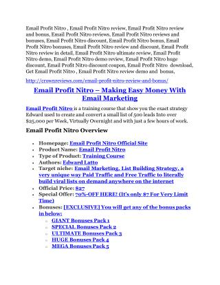 Email Profit Nitro review - 65% Discount and FREE $14300 BONUS