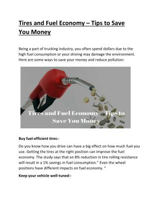 Tires and Fuel Economy – Tips to Save You Money