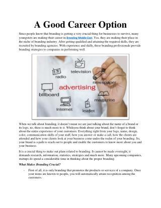 A Good Career Option