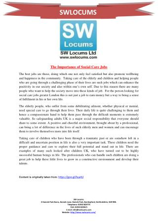 The Importance of Social Care Jobs