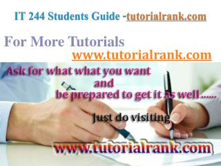 IT 244  Course Success Begins / tutorialrank.com