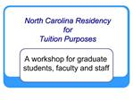 North Carolina Residency for Tuition Purposes