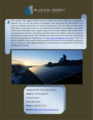 Best Solar Panel Installation In Toronto