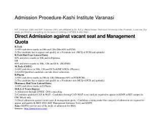 Admission Procedure-Kashi Institute Varanasi
