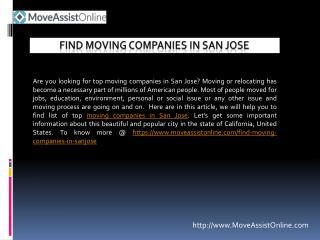 Are You Looking for Top Moving Companies in San Jose?
